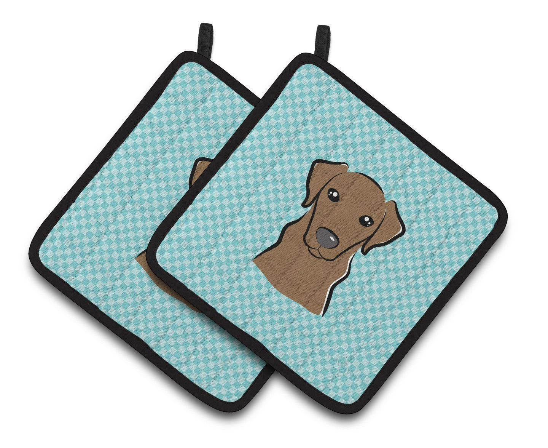 Checkerboard Blue Chocolate Labrador Pair of Pot Holders BB1172PTHD