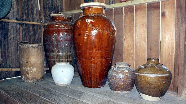 An Ancient Iban Jars with various sizes.