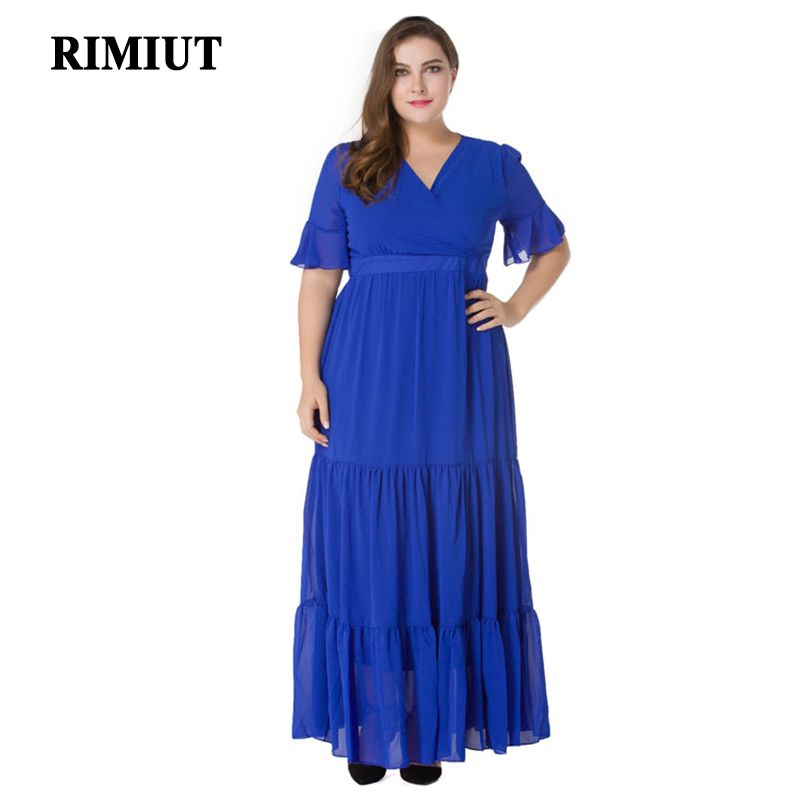 88f6c3e4c93 RIMIUT 2017 Big Size Plus Fat MM L-7XL Women Casual Long Blue Summer Dress