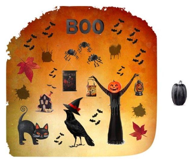 """Boo"" by carol-lade on Polyvore featuring interior, interiors, interior design, home, home decor, interior decorating, Crate and Barrel, Meri Meri, Improvements and Melrose International"