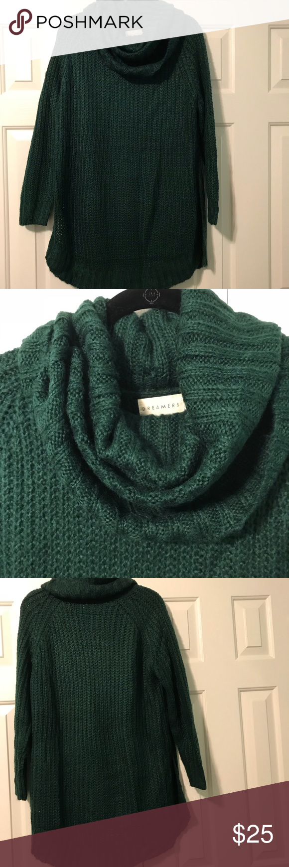 Hunter Green Dreamers cowl neck sweater tunic Purchased from Nordstrom, worn only once to a Christmas party. This oversized sweater tunic is perfect with faux leather leggings or skinny jeans! Size small but oversized. 55% cotton 45% acrylic. Perfect hunter green color. Sweaters Cowl & Turtlenecks