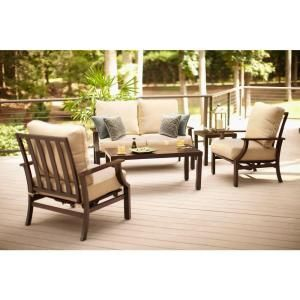 Hampton Bay Millstone 4-Piece Patio Deep Seating Set with Desert Sand  Cushions-FCA65097RST
