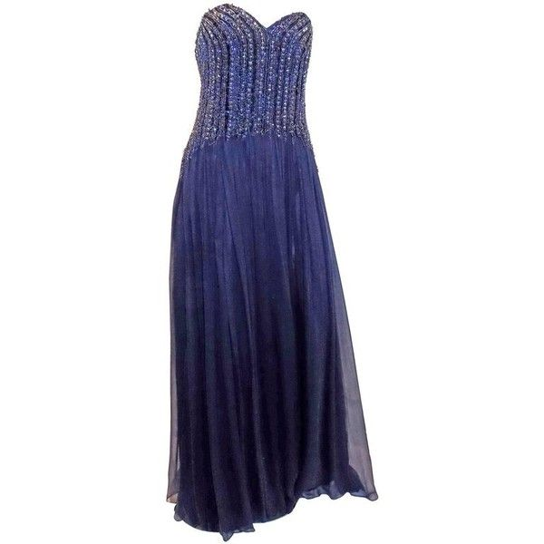 Preowned David Meister New W Tags Navy Blue Beaded Chiffon Corset ...