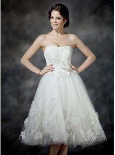 6bedacf125 Wedding Dresses - $179.99 - A-Line/Princess Sweetheart Tea-Length Satin  Tulle