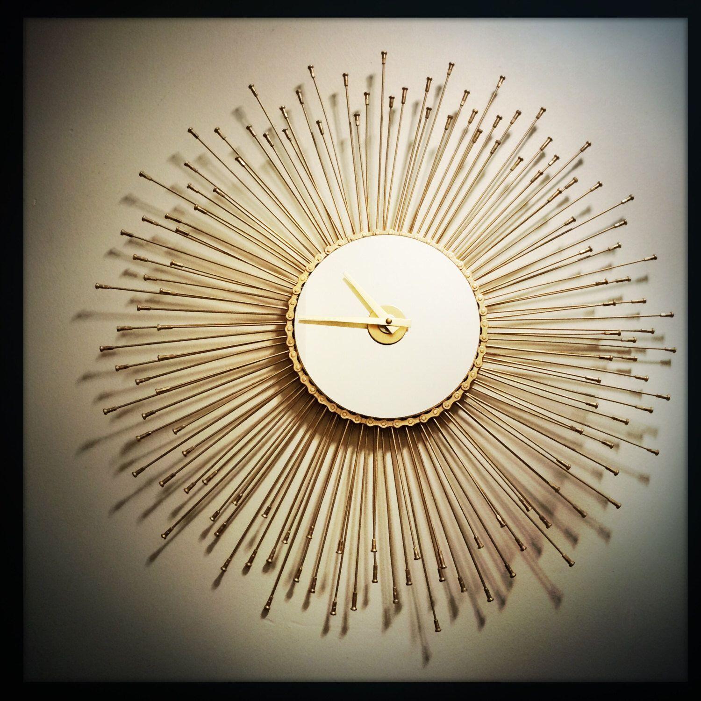 Sunburst wall clock mid century modern decor boho gift for her