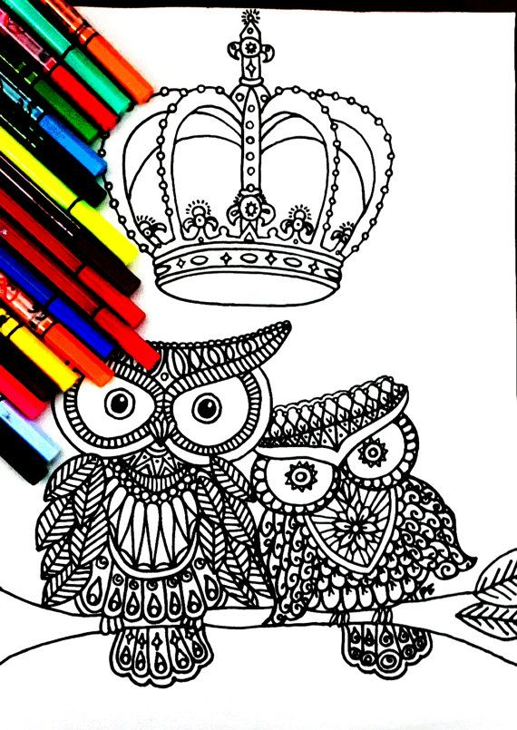Royal Owl Family Coloring Page With Many Details Complex Drawing Therapy Coloring Pages