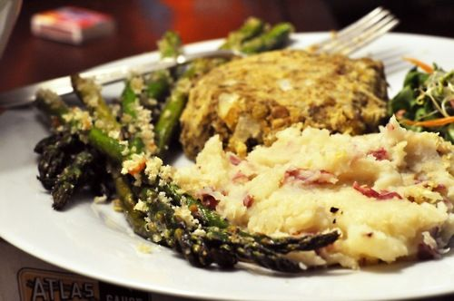 panko-crusted asparagus and lentil-chickpea loaves yuuuuummmm