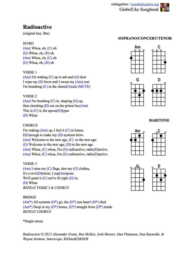 Imagine Dragons Radioactive Ukulele Chords Imaginedragons Ukulele Songs Ukulele Chords Songs Ukulele