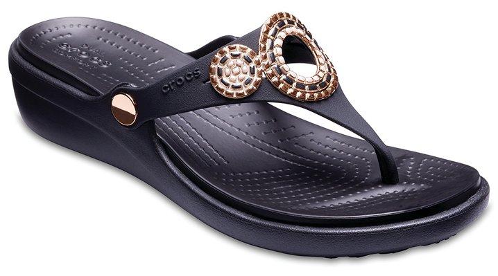 Women S Sanrah Embellished Diamante Wedge Flip Women S Shoes Sandals Women S Crocs Crocs