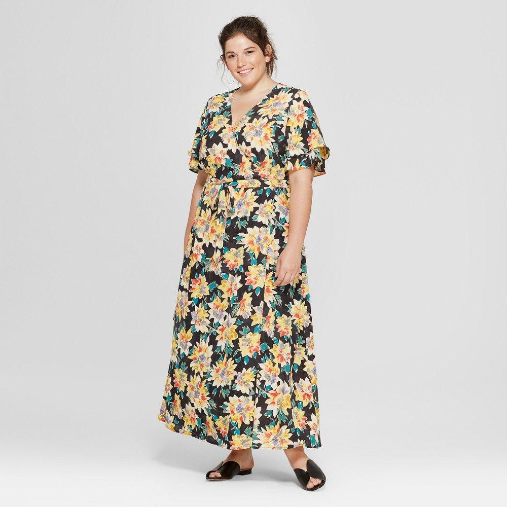 afa1e224f8f Women s Plus Size Floral Print Wrap Maxi Dress - Ava   Viv Black 2X ...