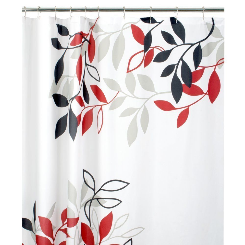Fabric Shower Curtain Leaves White Modern Design Red Tan Black Ebay