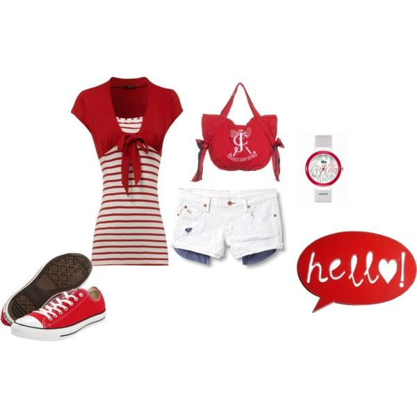 Red and Stripes, created by renee-marie-dingus-kennedy on Polyvore