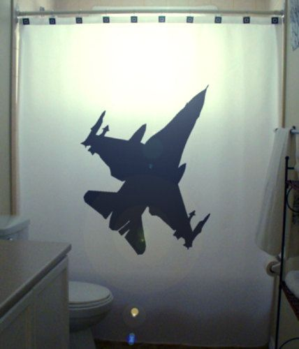 Fighter Jet F16 Shower Curtain Military Aircraft Bathroom Etsy In 2020 Plane Tattoo Airplane Drawing Pilot Tattoo