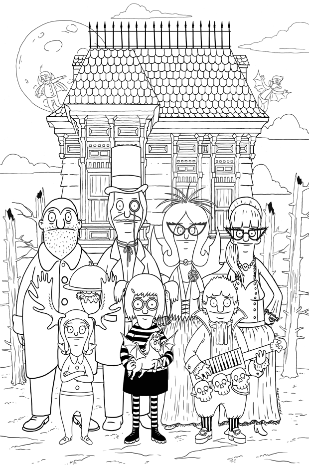 The Bob S Burger Coloring Book Lets You Make The Burger Puns Family Coloring Pages Halloween Coloring Pages Family Coloring
