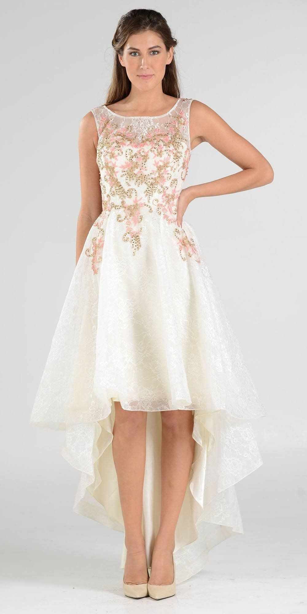 High and low lace embroidered off whiteblue prom dress sleeveless