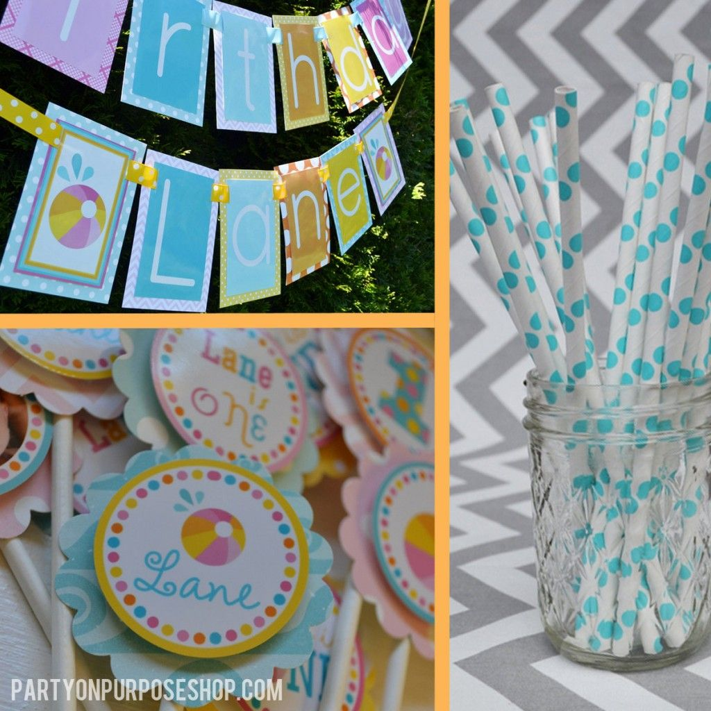 bash pool decorations and decor ppp napkin ideas rings party ball by birthday beach print press