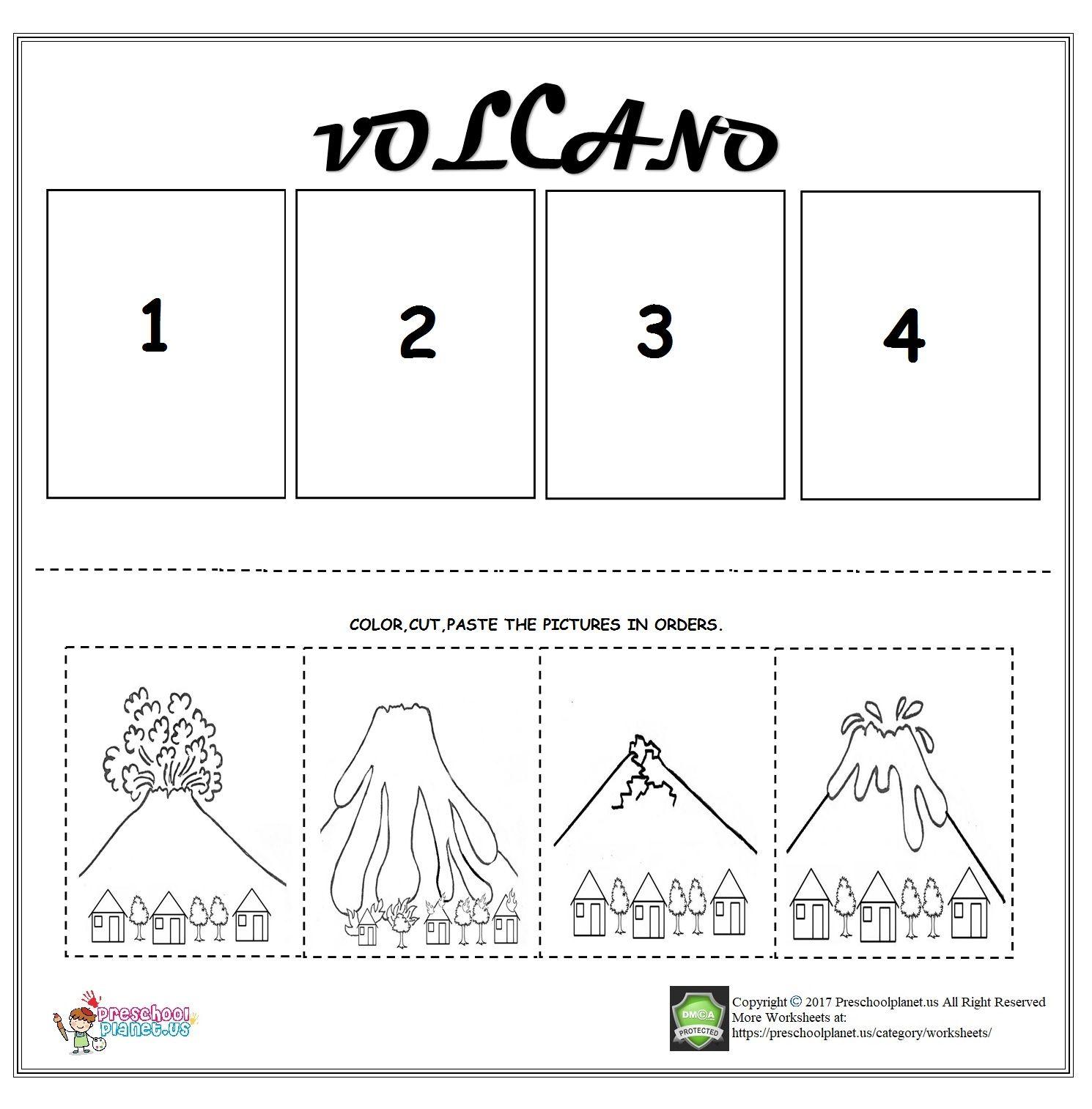 Volcano sequencing worksheet for kids   Kindergarten sequencing worksheets [ 1514 x 1490 Pixel ]