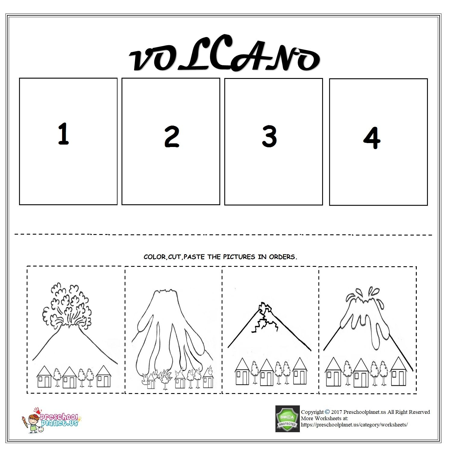 hight resolution of Volcano sequencing worksheet for kids   Kindergarten sequencing worksheets