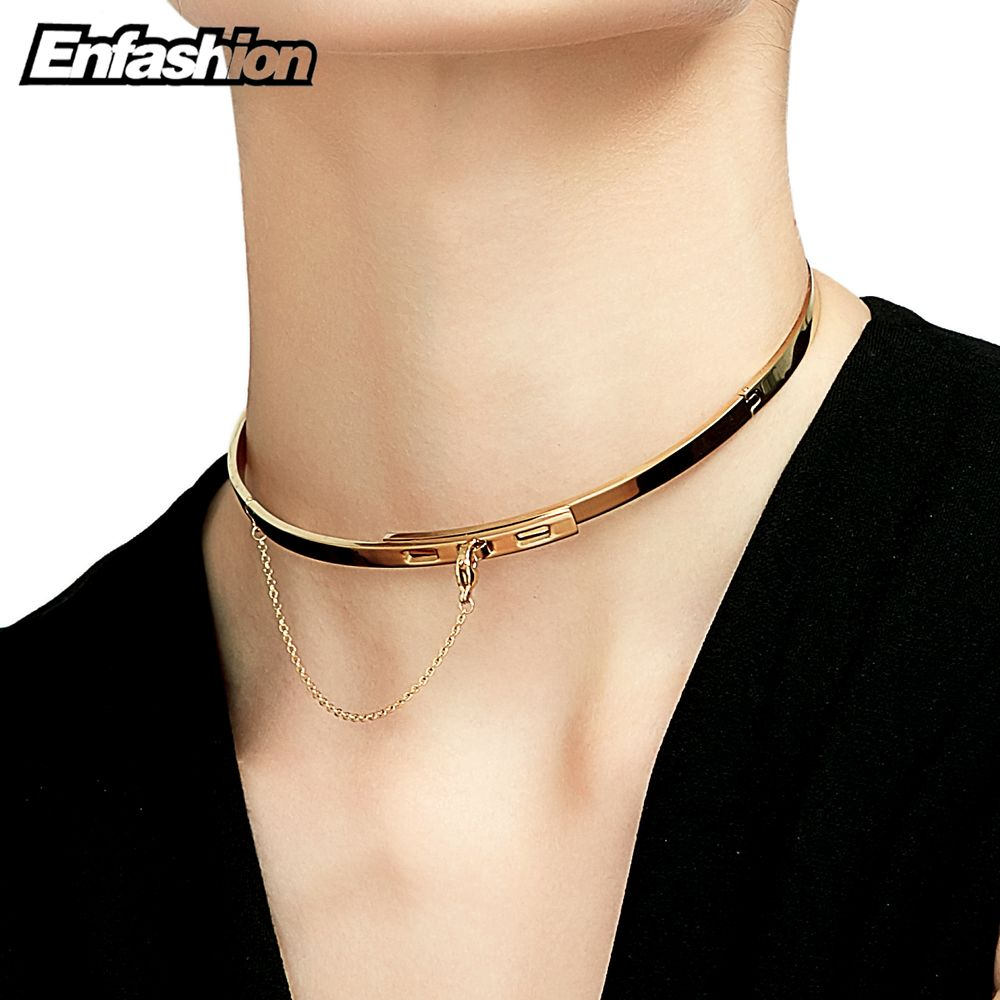 Enfashion safety chain chokers necklaces pendants gold color