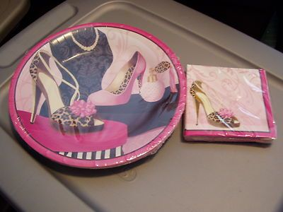 Fashionista Designer Pumps/Heels/Shoes Paper Plates & Napkins-Hot Pink & Black -$18.99