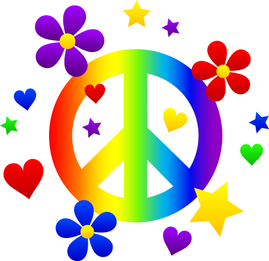Free Clip Art Of A Rainbow Peace Sign With Hearts Stars And