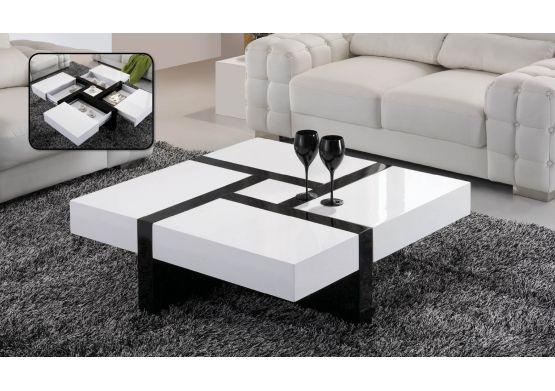 Table Basse Design Laquee Noir Et Blanc Haute Brillance Emilie Table Basse Design Table Basse Table Basse Laquee