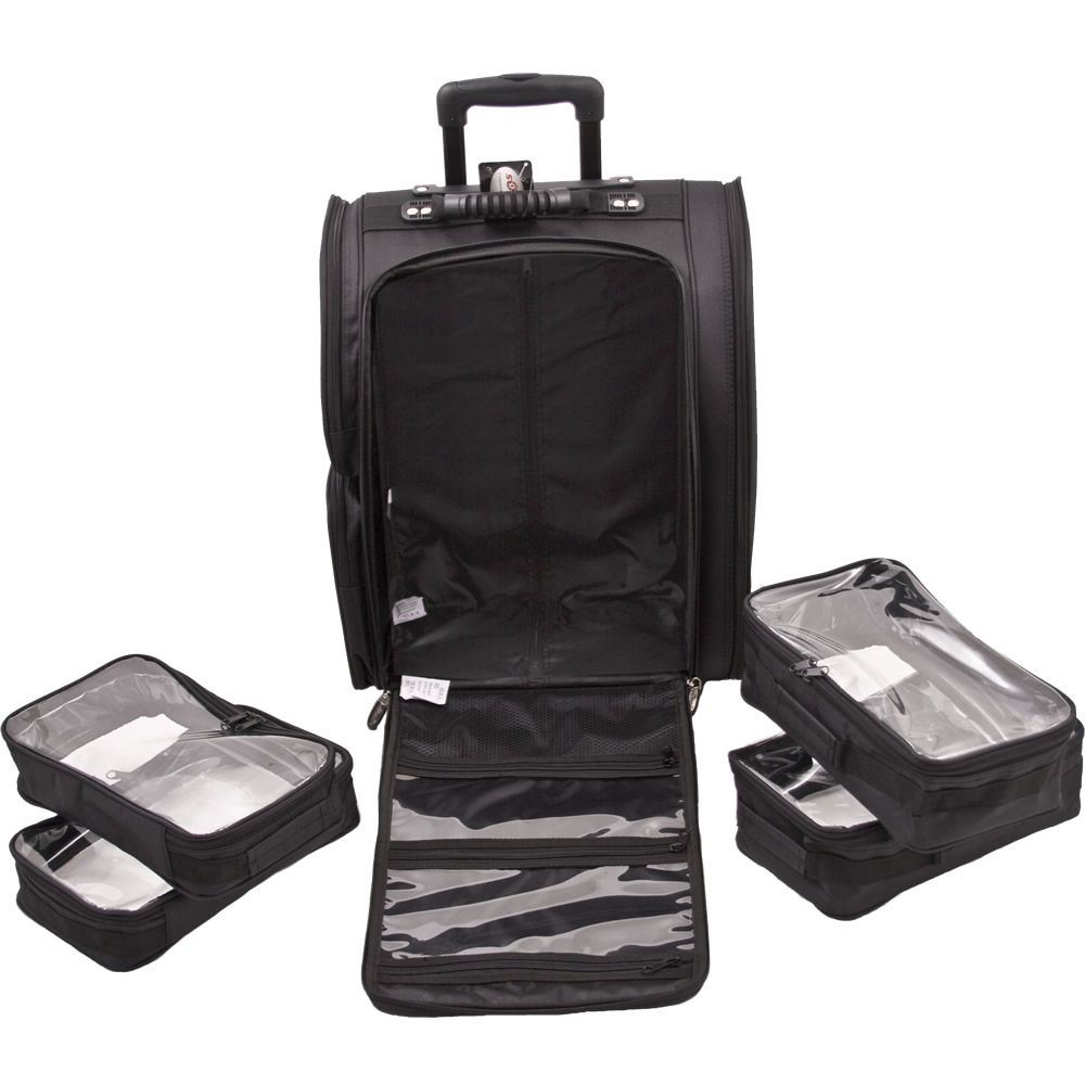 Black SoftSided Trolley Makeup Case Rolling makeup case