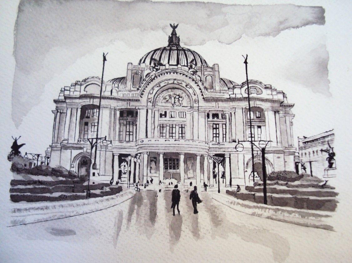 Ilustración del Palacio de Bellas Artes  hecho en tinta china y cojin del mismo