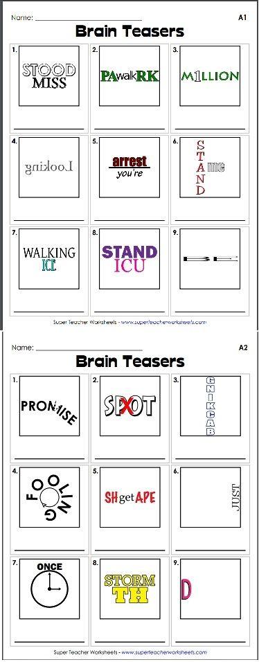Brain Teaser Rebus Puzzles Brain Teasers Critical Thinking Skills Teaching Free printable rebus puzzles
