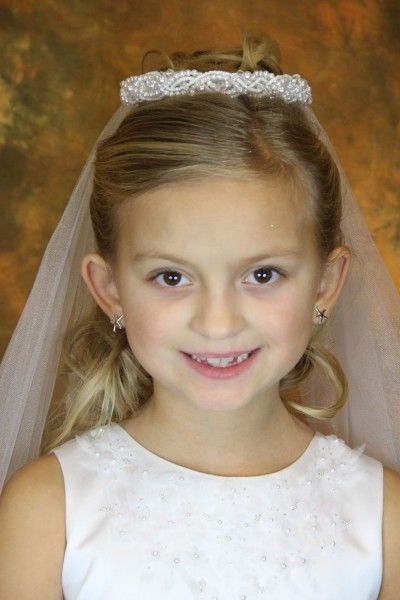 First Communion Veil with Pearl Wreath Bun Wrap