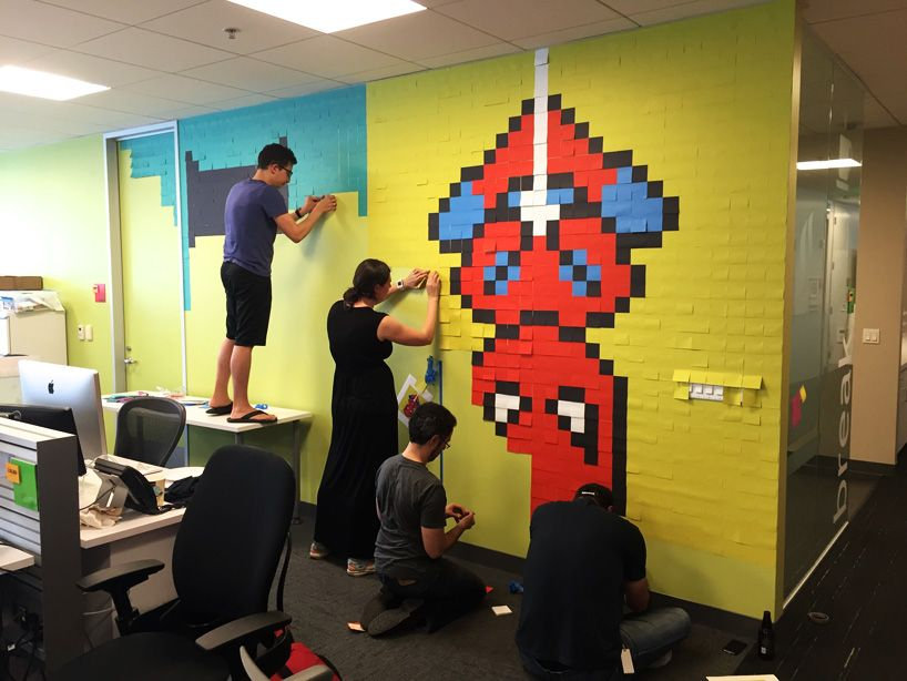 8,024-post-its-office-8-bit-superhero-art-designboom-09 | Art club ...