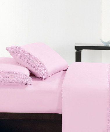 Look at this #zulilyfind! Pink Ruffled Deep-Pocket Sheet Set #zulilyfinds