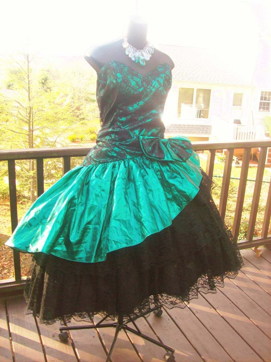 VINTAGE 80s LORALIE PROM PARTY DRESS AUTHENTIC XL XXL RARE WILD ...