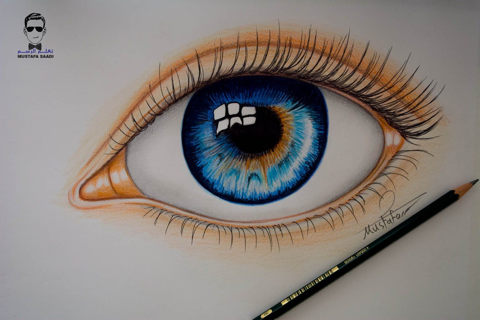 تعلم رسم العين بالالوان الخشبية How To Draw Realistic Eye Eye Drawing Realistic Drawings Drawings
