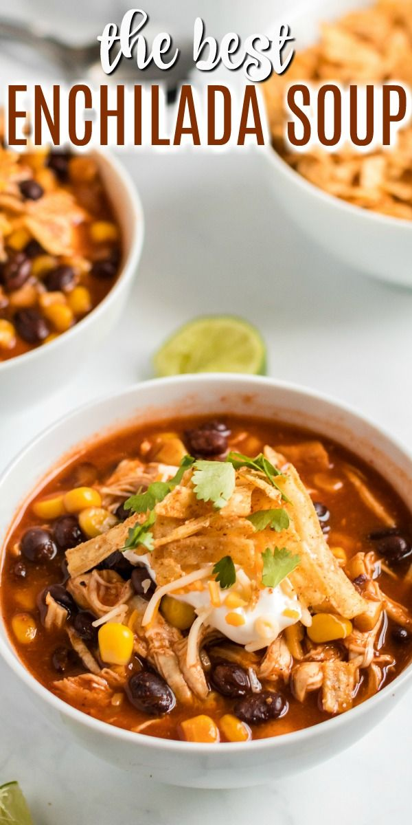 Slow Cooker Chicken Enchilada Soup Recipe – {Instant Pot & Stove Top}