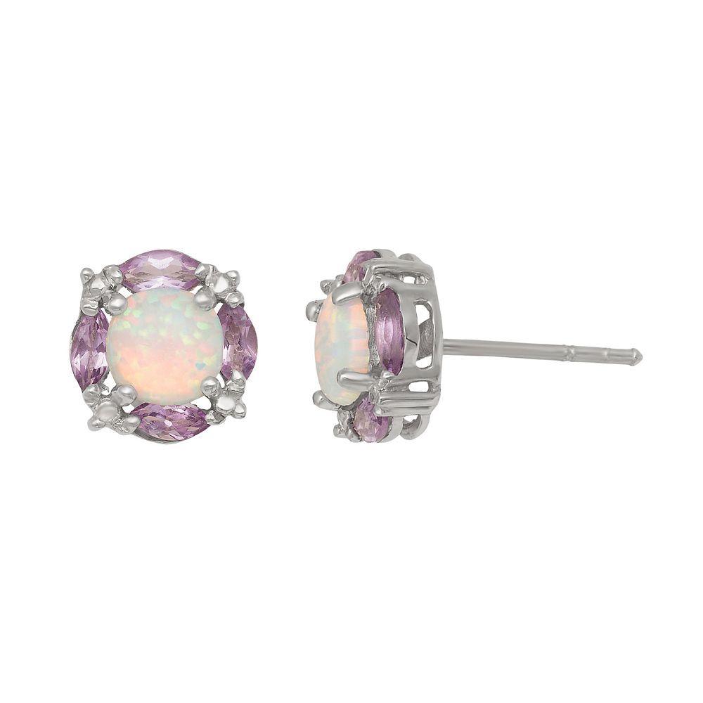 c0ba649ff Sterling Silver Lab-Created Opal & Amethyst Stud Earrings, Women's, White