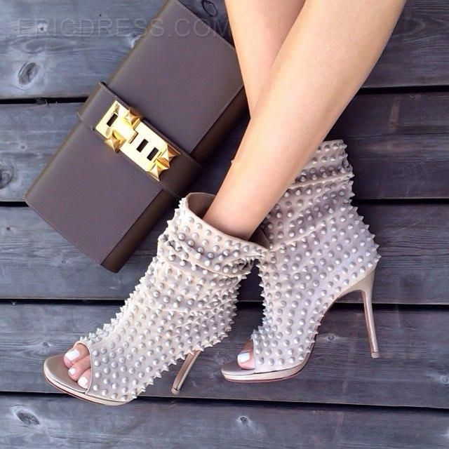 Ericdress Rivets Decoration Open-toe High Heel Boots High Heel ...
