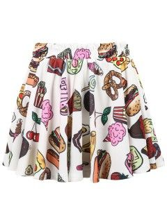 Shop Fast Food Print Pleated Skirt from choies.com .Free shipping Worldwide.$11.99