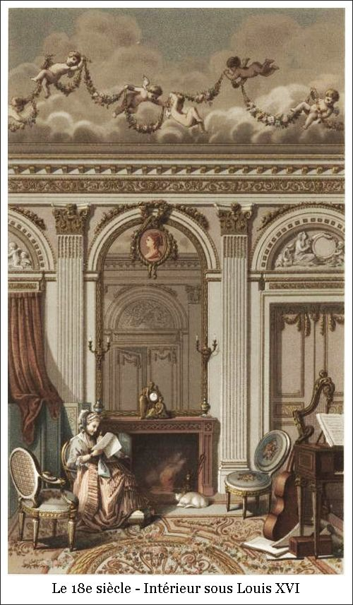 18e Siecle Interieur Sous Louis Xvi Affiche Imprimee Xviiie Siecle Interieurs Francais
