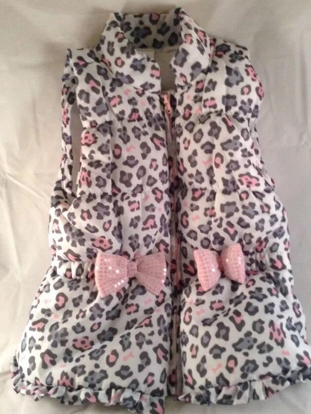 Wonder Kids Girl Toddler Vest Jacket Pink Gray Leopard Print Pink Sparkle  Bows  9073743ea