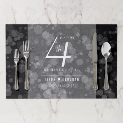Elegant 4th Linen Wedding Anniversary Celebration Placemat