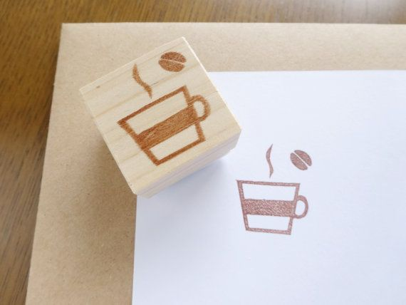 Lovely coffee stamp Coffee lover Cafe by JapaneseRubberStamps