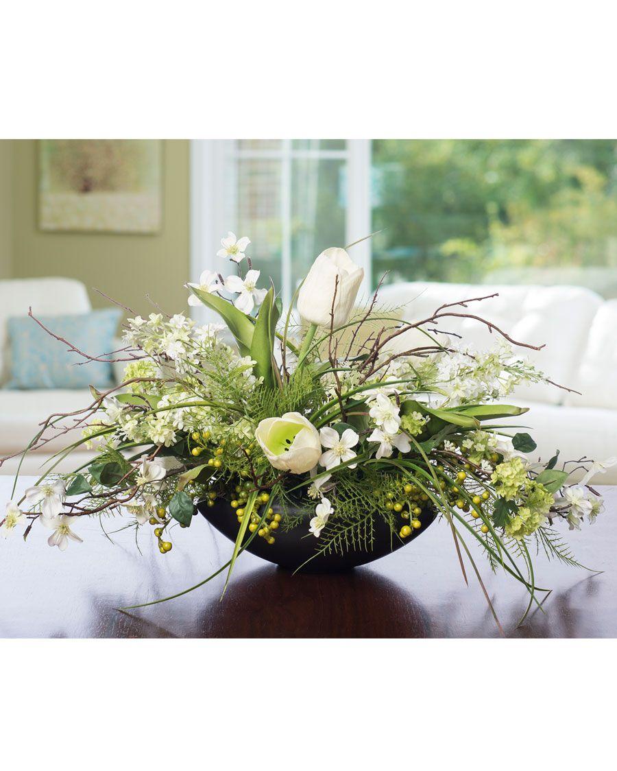 Lilac Dogwood Tulip Silk Flower Centerpiece Ceramic Planters