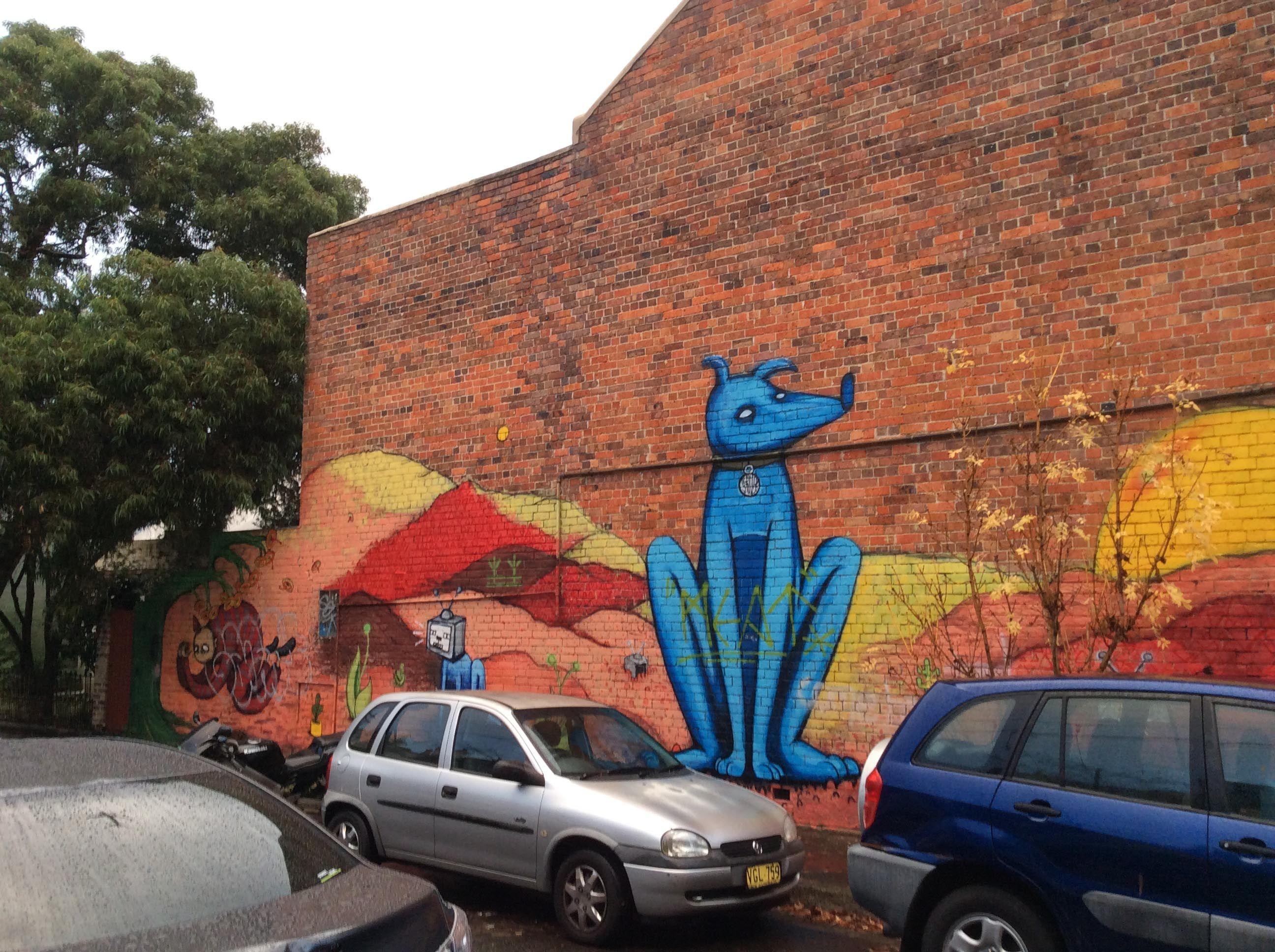 Blue Dog graffiti in situ, Newtown, Sydney