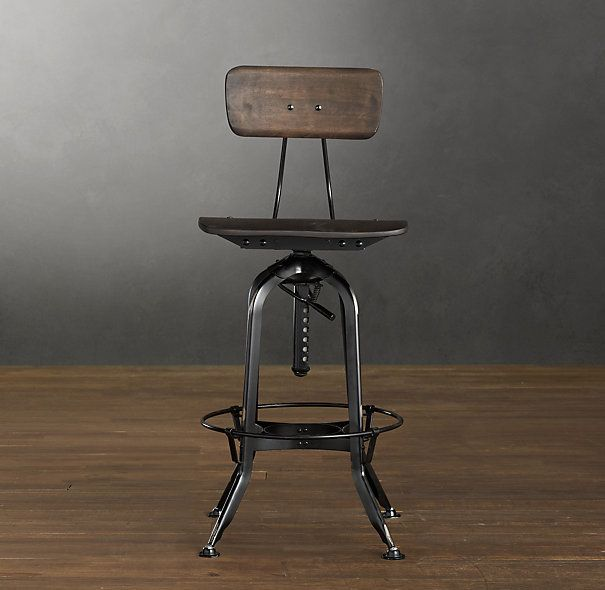 Vintage Toledo Bar Chair Distressed Black Bar Amp Counter