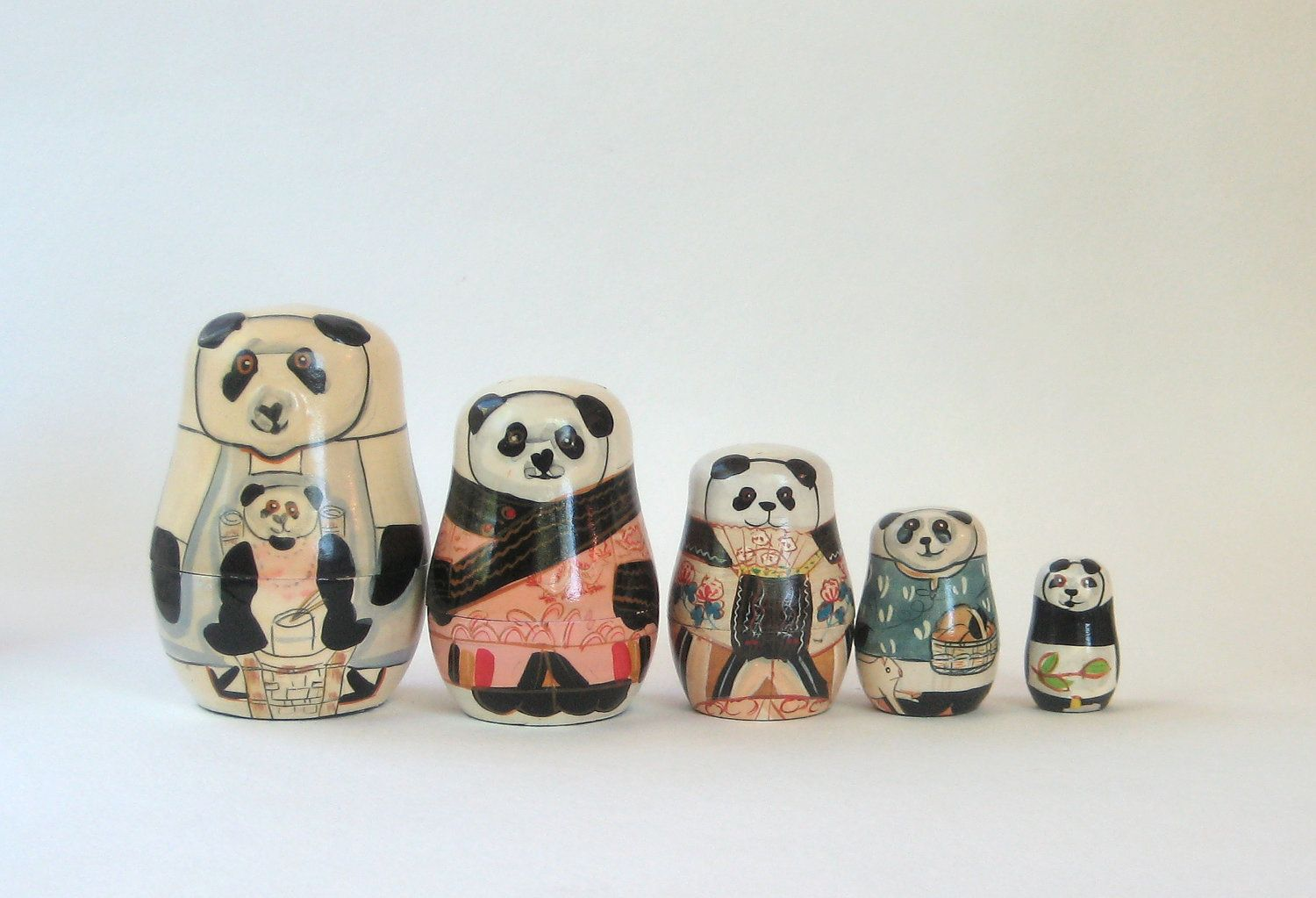 Nesting Panda Bear Dolls. $29,00, via Etsy.