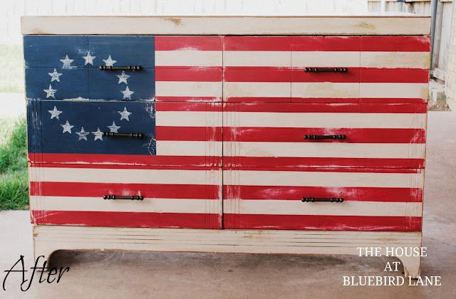 Red White & Blue Betsy Ross Inspired Dresser