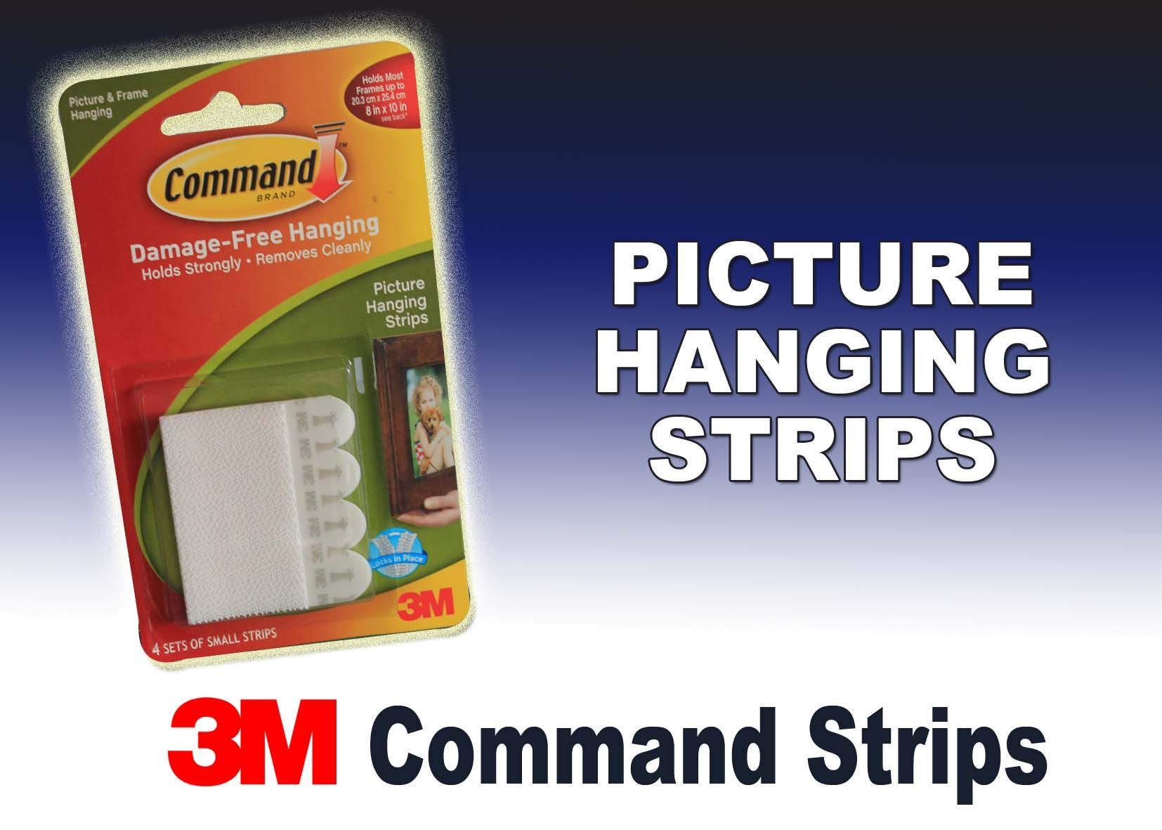 Picture hanging strips available from our website also