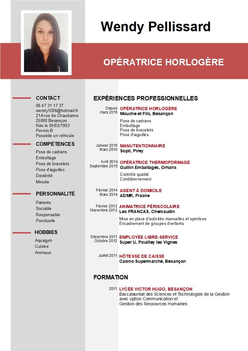 Cv Image Permis B Manutentionnaire Experience Professionnelle