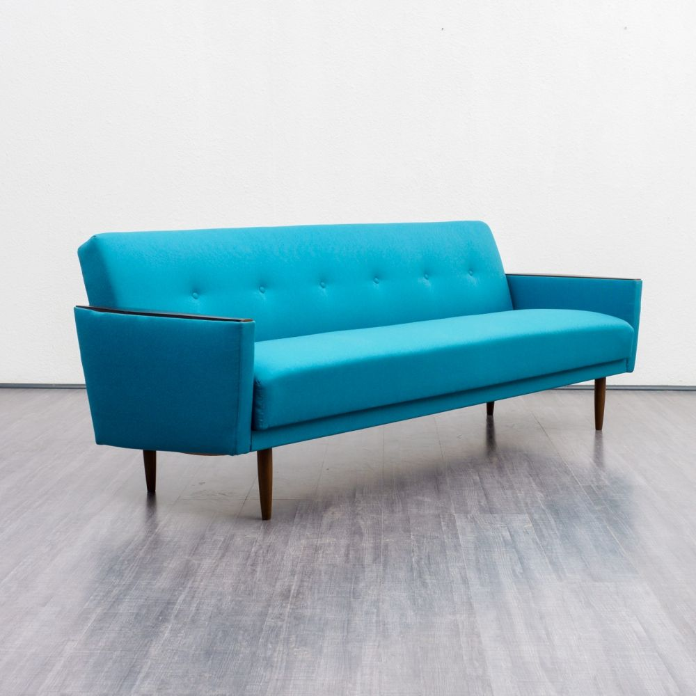 For sale: 1960s petrol blue sofa with fold out bed | Vintage Design ...
